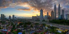 Kuala Lumpur, Malaysia (TOREX PHOTOGRAPHY) Tags: sky urban panorama clouds sunrise buildings landscapes cities architectural malaysia kualalumpur hdr klcc petronastwintowers kampungbaru