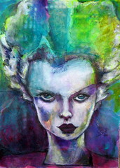 Bride of Frankenstein . . . (bettyfromtexas) Tags: portrait halloween collage faces journal sketchbook acrylics brideoffrankenstein artjournal elsalanchester facetofacewithmixedmediaart facetofacewithart