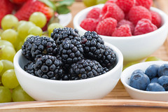 bowl of blackberries, fresh berries and green grapes on a wooden tray (cook_inspire) Tags: wood summer food white color nature kitchen closeup fruit garden dessert wooden juicy healthy mixed mix strawberry berry colorful different blackberry natural bright market sweet eating juice background seasonal group harvest bio bowl fresh collection delicious blueberry health grapes vegetarian raspberry organic variety diet agriculture ripe nutrition vitamin