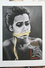 Anorexia, Chalk Pastel, Concentration Series, 2015, Belen Ortiz. (Cavalier Art RM 204) Tags: santiago portrait people selfportrait art contrast self watercolor painting high student acrylic cityscape expression quality room surreal indoor automotive line charcoal expressive cavalier okura shs 204 nocturne oils graphite posterized linedrawing acrylicpaint oilpaint selfie rm cavaliers cavs tempra room204 linequality rm204