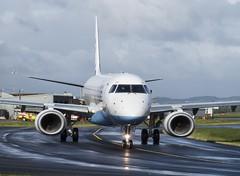 G-FBEF Embraer 195 Flybe @ Exeter Airport, Devon. (Cornish Aviation) Tags: airport aviation jet devon exeter regional airfield embraer 195 windsock flybe gfbef