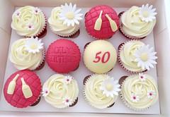 50th Birthday Daisy Yellow & Pink Cupcakes (A Cherry On Top Scotland) Tags: cherryontop fife cupcakes celebratorycupcakes cakes celebratory vowswinner clairesara burntisland babyshower birthday corportate edibleprints spider goodbye wedding goldwedding