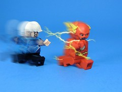 Who's Faster? (MrKjito) Tags: lego minifig flash quicksilver dc marvel comic comcs race super speed meta human mutant force