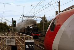 Steam and Pendolino Pong. (Chris Baines) Tags: jubilee wcr carnforth chester wigan north western virgin trains class 390 pendolino leander 45690 allocated bristol barrow road br days