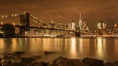 New York City lights (hjuengst) Tags: newyork brooklynbridge night nightshot lights streetlight orange reflection manhattan skyline brooklyn