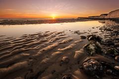 Birling Gap 3 stone sunset. (KVH-P) Tags: 2016 sigma1020mm water wideangle eastsussex england eastbourne rocks reflection travelphotography uklandscape uk nikond7000 sea seascapes sunset sussexlandscape sussex d7000 gitzotripod sky sussexseascape clouds cloudsstormssunsetsandsunrises chalk cliffs beach beacheslandscapes birlinggap nikon sevensisters
