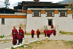 Bhutan-Simtokha dzong (Explore) (venturidonatella) Tags: asia bhutan simtokha dzong monastery monastero monks colors colori monaci persone people rosso red religione buddha buddhism buddismo thimphu explore