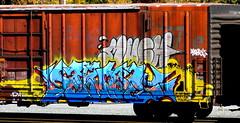 much - savor KI (timetomakethepasta) Tags: savor ki freight train graffiti art boxcar rio grande much hm ups downs smiles frowns