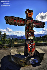 Present Tense (DetroitDerek Photography ( ALL RIGHTS RESERVED )) Tags: allrightsreserved canada britishcolumbia native nativecanadian trible totem pole sign symbol past mountains stream river beauty nature bc westcoast north hdr 3exp canon 5d mkii digital november 2016 fall autumn clouds sky radiohead amoonshapedpool presenttense song title detroitderek
