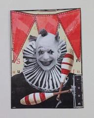 Boo the clown (juliajae) Tags: atc artisttradingcard mixedmedia swapexchange clown circus horror