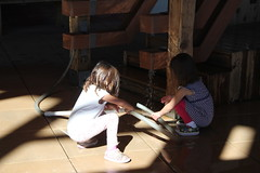 The girls working on a water contraption 2 (Aggiewelshes) Tags: october 2016 lehi utah travel museumofnaturalcuriosity thanksgivingpoint waterworks jovie vivian