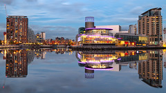 21/10/16 Mirror, mirror, on the wall... (G-WWBB) Tags: reflections reflect mirror mirrorimage northbay eeriebasin huronbasin salfordquays dusk salford lowrysalfordquays lowrytheatre nvbuildings nvbuildingssalfordquays
