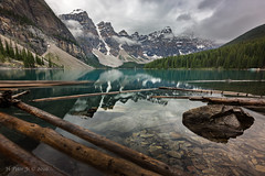 Solitude at crystal clear water (ScorpioOnSUP) Tags: alberta banff banffnationalpark canada morainelake valleyofthetenpeak adventure clouds glacier lake landscape landscapephotography logs mountainrange mountains nationalpark nature outdoors overcast reflections rocks trees water wilderness