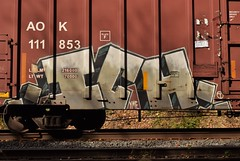 ICH (TheGraffitiHunters) Tags: graffiti graff spray paint street art colorful freight train tracks benching benched ich ichabod yme circle t boxcar