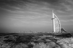 Dubai Skyline from the sea... (Radial360) Tags: fromthesea burjalarab boat bw dubai burjkhalifa