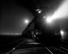 In the Fog, 1976 (clarkfred33) Tags: americanfreedomtrain sp4449 daylightlocomotive famouslocomotive aft nighttime 1976 uceta railroadadventure historiclocomotive historic photocontest contest fog timeexposure southernpacific tampa famous