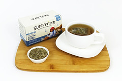 Sleepy Time Tea Brewing In white cup (sleepsugar.com) Tags: sleep tea relax herbal natural brew bag teabag herbs steep infuse cup saucer box white drink unwind calm