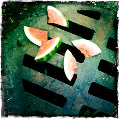 watermellon on the sewer-003 (swardraws) Tags: ontheground watermellon sewer