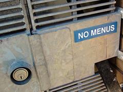No Menus, San Francisco, CA (Robby Virus) Tags: sanfrancisco california sf ca no menus sign door residence metal