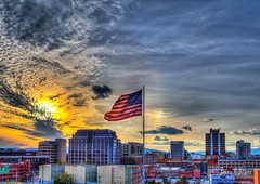 Veterans Day Sun and Flag Roanoke (Terry Aldhizer) Tags: veterans day sun flag american roanoke sky sundog rainbow arc optic clouds city buildings banks anthem bac terry aldhizer wwwterryaldhizercom