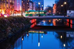 Malm by night (Maria Eklind) Tags: skymmning bro relfection city bridge malm sky cityview spegling sweden streetview himmel bluehour dusk davidshallsbron skneln sverige se