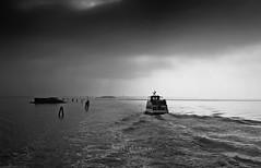 Camino Burano... (Sole pg) Tags: atardecer sunset maradriatico barco blancoynegro canon60d diques venecia burano resplandor