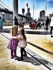 Brooklyn Bridge Hug !!!! (Graceiee B) Tags: people woman ny newyork love beach fashion kid interesting hug candid adorable streetphotography brooklynbridge streetshot iphone nyplaces placetovisit iphonography iphone4s