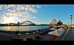 Sydney Harbour Pano [Explore May 14, 2012 #42] (Mariasme) Tags: sydneyharbour bridge foreshore thesydneyoperahouse sunset f64g44r1win scape pregamewinner lumix gamewinner gamex2winner gamex3winner herowinner storybookwinner landmark