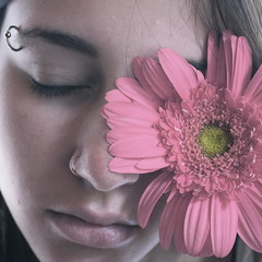 sweet dreams (peculiarnothings) Tags: pink portrait plant flower detail eye face up self nose soft close eyelashes skin sweet tint lips piercing ring eyebrow dreams pierce chapped