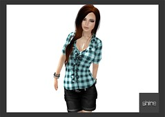 shine by [ZD] - Mesh Short Sleeves Frilly Plaid Blouse (shine & sharp by [ZD]) Tags: ocean life pink blue fashion rose yellow by vintage demo grey for beige women pattern shine dress place mesh market rosa grau retro blouse sl gelb fawn dresses short second marketplace mp blau plaid boho mode frilly frauen bluse fr sleeves kleidung checked trkis kleid weiblich zd womenswear inworld schottenmuster karomuster zddesign