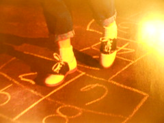 Hopscotch (Windy City X-Pat) Tags: legs hopscotch saddleshoes
