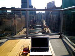 The BLR Chicago offices (Blue Lollipop Road) Tags: city morning blue sky sun chicago reflection coffee sunshine clouds office warm view bright laptop sunny diane chicagoriver springtime windycity blr dianepeacock bluelollipoproad