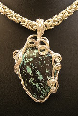 Anshar (YouveGotMaille) Tags: necklace jewelry byzantine pendant braided wirewrapping wirewrapped wireweaving silverfilled spiderwebturquoise youvegotmaille