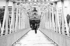 Over the Bridge (FEGO Photographies) Tags: street blackandwhite bw man paris bride streetphotography canonef50mmf18ii fego canoneos7d fegoguer