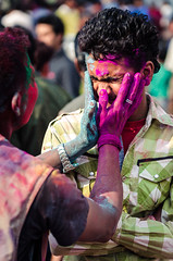 Holi festival, Kathmandu, Nepal (Andrew Taylor Photography) Tags: nepal colour men festival celebration kathmandu subject colourful festivity holi durbarsquare happyholi basantapurdurbarsquare colouredpowder playholi
