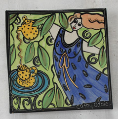 Cup of tea? (Cathy Oddie) Tags: woman ceramics tea tiles pottery teapot cuppa bluedress cathyoddie