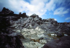On the edge of infinity (John Carleton) Tags: sky cliff landscape hawaii rocks rocky maui pinhole ridge zeroimage velvia50 filmphotography oneloabay