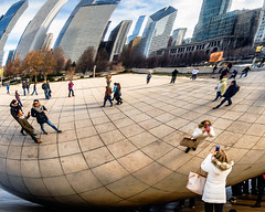 Photographing the Bean (Sky Noir) Tags: cameraphone park people usa distortion chicago mobile reflections photography illinois wideangle device bean millennium il cloudgate photographing iphone 2013faves