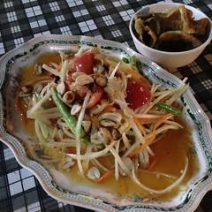 ส้มตำปลาสลิด | Spicy Papaya Salad With Crispy Fried Fish @ ลาบ-11 | Larb Sib Ed