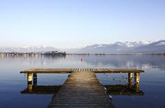 Sicht auf Rapperswil (duqueros) Tags: lake mountains reflection schweiz switzerland see suisse jetty symmetry berge svizzera reflektion rapperswil steg zrichsee lakezurich symmetrie kantonstgallen duqueiros