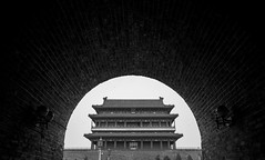 Tiananmen Square Semi-Circle (Universal Stopping Point) Tags: china bw brick stone chinese beijing tunnel structure walkway historical tiananmensquare