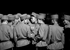 Group Of Young Soldiers Pyongyang North Korea (Eric Lafforgue Photography) Tags: people blackandwhite man horizontal night asian back uniform asia award medal photograph humanbeing northkorea pyongyang youngboys dprk kakhi teenageboys menonly boysonly traveldestinations smallgroupofpeople northkorean 1617years 4550 asianethnicity 1415years militarysuit kepimilitaryhat dprk4550