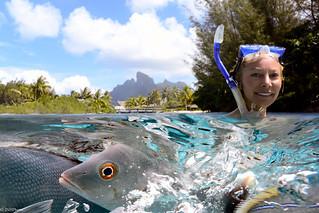 Feeding the Fish in Bora Bora; Nikon 1 AW1 - EXPLORED