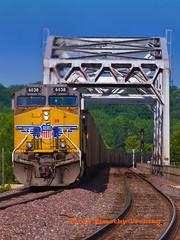 UP #6308 crossing Kaskaskia River #1 (tim_1522) Tags: railroad bridge electric train river illinois pacific general steel sub union rail trains il chester coal mopac subdivision railfanning dpu kaskaskia railfans ac4400cw