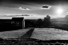 The Shed! (Missy Jussy) Tags: composition shed gardens path lawn fence trees shadows light sunlight sky clouds view wales garndolbenmaen blackandwhite blackwhite bw mono monochrome canon cannon600d sun eveningsun