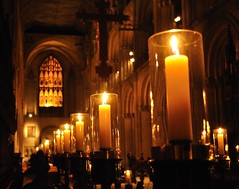 Candles and choir stalls (N'GOMAPHOTOGRAPHY) Tags: peterborough cathedral nightshoot night candles gothic masonry stonework woodwork carvings stainedglass window jesus cross crucifixion