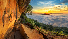 sunrise (Weerapon Niawpan) Tags: sky sunrise fog lake forest sunset travel blue sun rock old thailand architecture temple beautiful asia panorama stone cambodia mountain cloud cliff wat sisaket
