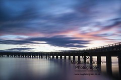 Pretty Blue and Pink  - Tay Rail Bridge - Long Exposure  - Dundee Scotland (Magdalen Green Photography) Tags: prettyblueandpink blueandpink clouds rivertay awesonelight tayrailbridge longexposure dundee scotland scottishbridges magdalengreenphotography blue pink arches bonniedundee 6700