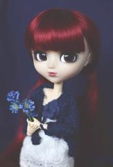 Blue flower (Dragonella~) Tags: pullip miyuki bloody red hood pullipbloodyredhood obitsu blue flower bloodyredhood groove rewigged doll dragonella nikon d5100 pullipobitsu