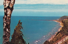 "NW Elberta Arcadia MI 1950s Bluff Top Lookout near Arcadia looking over Lake Michigan North to Frankfort and Elberta possibly from what is now Green Point Dunes Nature Preserve1 (UpNorth Memories - Donald (Don) Harrison) Tags: christmas santa jesus vintage antique postcard rppc ""don harrison"" ""upnorth memories"" upnorth memories upnorthmemories michigan history heritage travel tourism ""michigan roadside restaurants cafes motels hotels ""tourist stops"" ""travel trailer parks"" campgrounds cottages cabins ""roadside entertainment"" ""natural wonders"" attractions usa puremichigan "" ""railroad ferry"" ""car excursion"